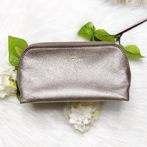 {Coach} Gold Pebbled Leather Cosmetic Bag Pouch